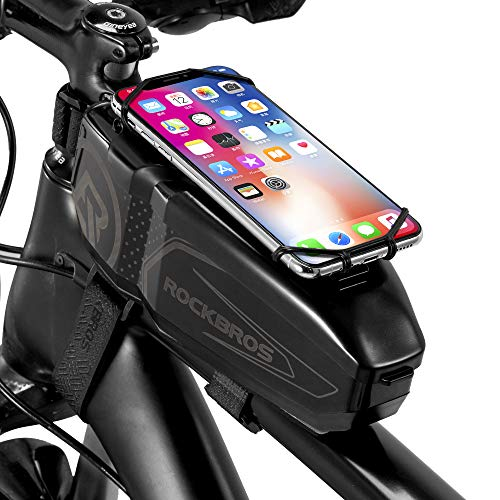 """ROCKBROS Top Tube Bike Phone Bag Bicycle Front Frame Bag with Phone Mount PC Cycling Pouch Pack Bike Accessories Storage Case Adjustable Phone Holder Compatible with iPhone 11 12Pro XR 6.5"""""""