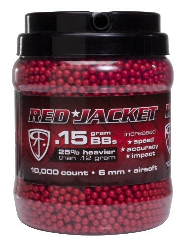 Red Jacket 6mm Airsoft BB's, Red, 10000 Count