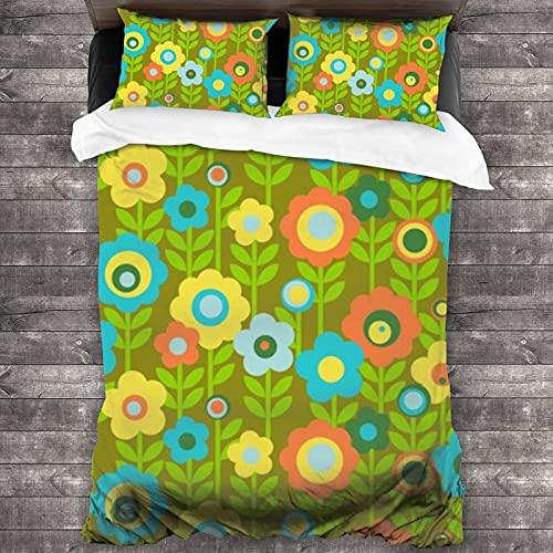 Juego de cama Queen de 3 piezas Marguerite aguacate vintage hoja flor flores hojas tallo jardín verde oliva tamaño individual