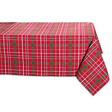 DII 100% Cotton, Machine Washable, Dinner and Holiday Tablecloth, 52x52, Tartan Holly Plaid, Seats 4 People