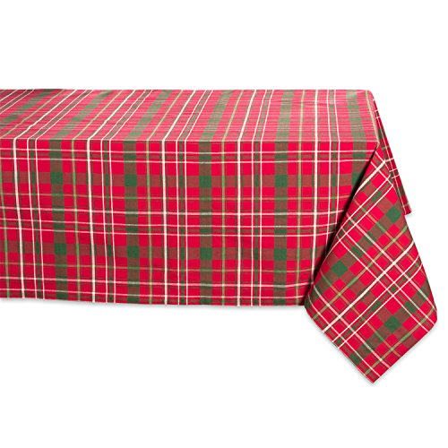 "DII Tartan Holly Plaid Square Tablecloth, 100% Cotton with 1/2"" Hem for Holiday, Family Gatherings, & Christmas Dinner (60x84"" - Seats 6 to 8)"