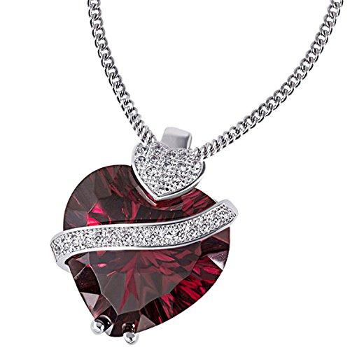 Goldmaid rote Damen-Herzkette 925 Sterlingsilber mit granat-farbenen Zirkonia Herz-Anhänger Schmuck
