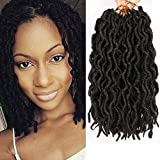 6 Packs Faux Locs Crochet braids 12inch Faux Locs Crochet Hair Extensions Kanekalon Dreadlock Crochet Twist Hair Curly Faux Locs Crochet Braids (20 Roots/Pack ) #1B