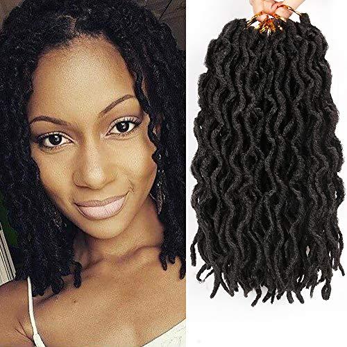 6 Packs Faux Locs Crochet braids 12inch Faux Locs Crochet Hair Extensions Kanekalon Dreadlock Crochet Twist Hair Curly Faux Locs Crochet Braids (20 Roots/Pack) #1B