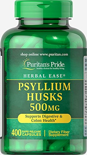 Puritan's Pride Psyllium Husks 500 Mg Supports Digestive and Colon Heatlh, 400 Capsules, by Puritan's Pride, 400 Count (3244)