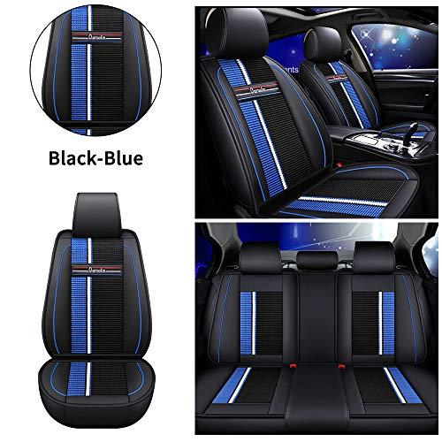 Muchkey Fundas Asiento Coche de Piel para Volkswagen Touran Jetta Bora Todas Las Estaciones 5 Asientos Cubreasientos Impermeables Accesorios Interior Estilo Azul Negro