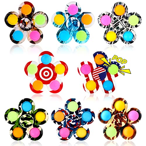 GOHEYI 8 Pack Pop Fidget Spinner,Popper Fidget Spinners Pack Toy,Push Pop Bubble Simple Hand Spinner for Kids Adults,Handheld Popping Sensory Stress Relief Toys