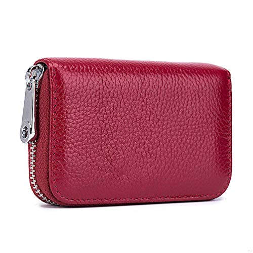 RFID スキミング防止 カードケース 本革製 財布 レザー 男女兼用 カード入れ 7cm*11cm*2cm(ワインレッド)