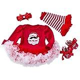 Strampler für Neugeborene und Kleinkinder, mit Tutu, Schleife, Stirnband, Socken, Schuhe, Prinzessinnen-Kostüm, 4-teiliges Set 12-24 Monate rot