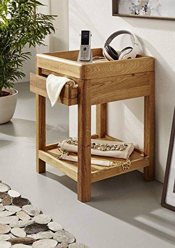MASSIVMOEBEL24.DE Beistelltisch LINZ aus Wildeiche Natur geölt, Konsolentisch Massivholz mit Schublader und Ablagefach
