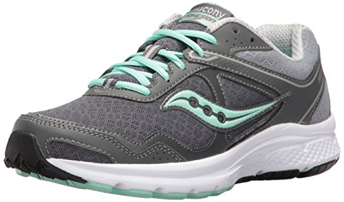 Saucony Women's Cohesion 10 Running Shoe, Grey/Mint, 10.5 W US