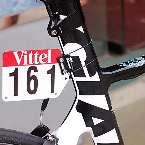 Aluminio Racing Número de placa de montaje en bicicleta de carretera Triatlón DIY Soporte de placa personalizado Soporte de tarjeta en forma Plana Aero Tija de sillín Calcomanías Vittel V