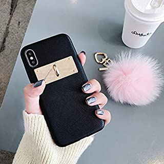 Twinlight for iPhone Xs Max XR Case Leather Plush Ball Luxury Fashion Pendant Winter Mobile Phone Case for iPhone 7 8 Plus Women Case (Black, for iPhone Xs Max)