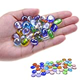 KINGOU Replacement Mancala Stones Mixed Colored Flat Glass Pebbles / Beads / Gems for Games ( 12-15mm )