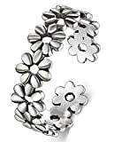 BORUO 925 Sterling Silver Toe Ring, Daisy Flower Hawaiian Adjustable Band Ring...