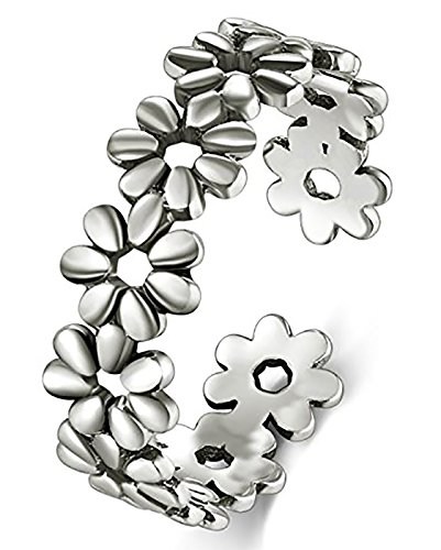 BORUO 925 Sterling Silver Toe Ring, Daisy Flower Hawaiian Adjustable Band Ring, Benefiting The American Red Cross.