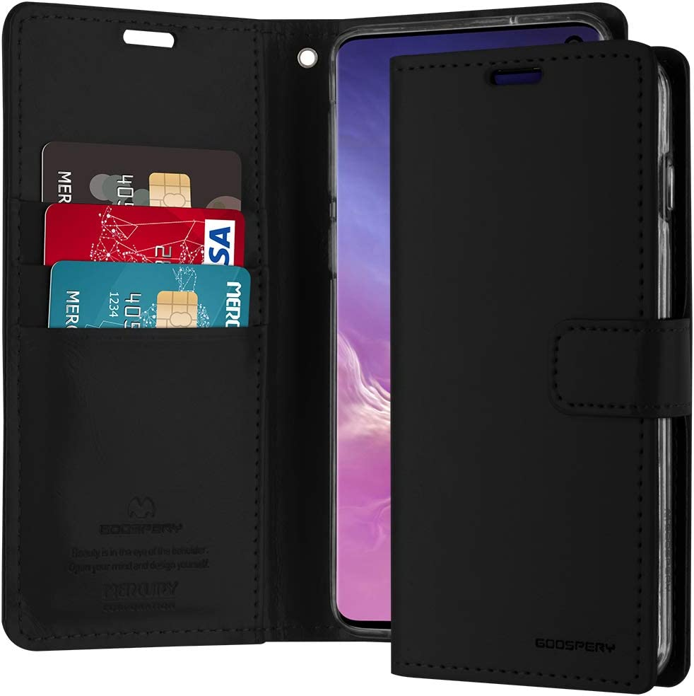 Goospery Blue Moon Wallet for Samsung Galaxy S10 Case (2019) Leather Stand Flip Cover (Black) S10-BLM-BLK