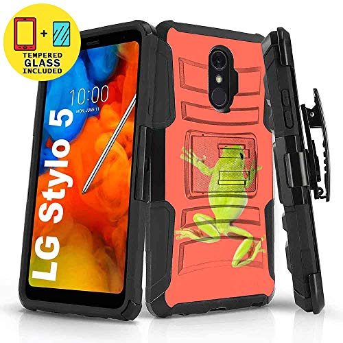 TalkingCase Black Dual Layer Phone Case for LG Stylo 5,5v,Realistic Frog Print,Kickstand,Belt Clip Holster,Tempered Glass Protector Included,Designed in USA