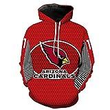 COZY LS Unisex con Capucha Suéter - Los Aficionados De La NFL Arizona Cardinals 3D Camiseta De Rugby Uniforme Primavera con Capucha Suéter De Béisbol con Bolsillo - Adolescentes Regalo Red-XXXXXL