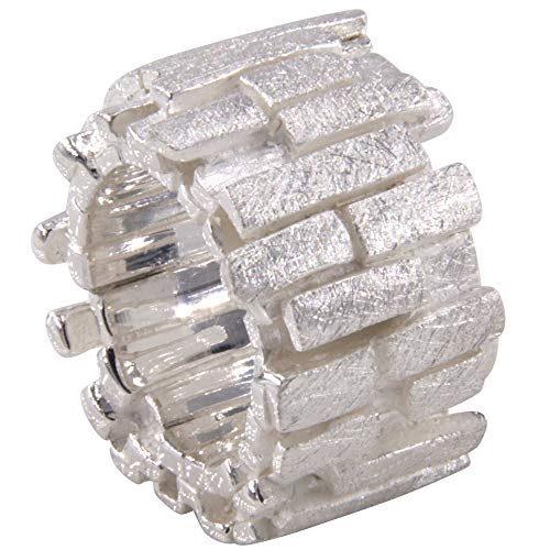 massiver Silberring, hochwertige Goldschmiedearbeit (Sterling Silber 925, mattiert, anlaufgeschützt) schwerer ausgefallener Damenring