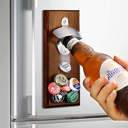 Apribottiglie da parete con raccoglitore per tappi di bottiglia apribottiglie in legno con raccoglitore per tappi apribottiglie per birra per frigorifero a casa party bar - e super magnetico