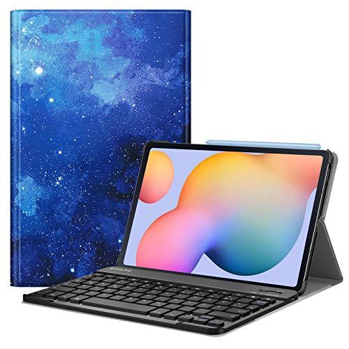 Fintie Tastatur Hülle für Samsung Galaxy Tab S6 Lite 10,4 SM-P610/ P615 2020 mit Stifthalter - Ultradünn Keyboard Case mit magnetisch Abnehmbarer drahtloser Deutscher Tastatur, Sternenhimmel