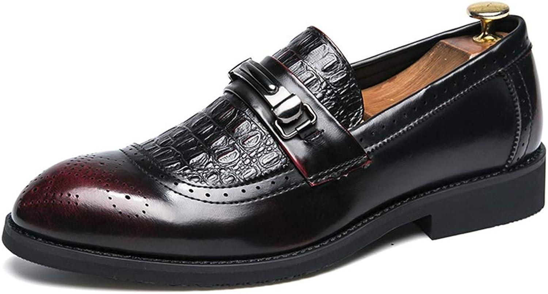 Yajie-schuhe, Herren Casual Komfortable Komfortable Komfortable Slip On Metallschnalle Dekoration Krokodil Brogue Spitze Formale Schuhe Mode Oxford (Farbe   Rot, Größe   43 EU)  b35060