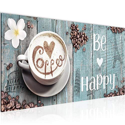 Wandbilder Küche Kaffee Modern Vlies Leinwand Wohnzimmer Flur Be Happy Blau 020712c