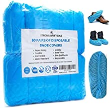 Strongman Tools | 120 Pack (60 Pairs) Extra Thick Disposable Shoe & Boot Covers | Durable & Water Resistant | Anti-Slip | One Size Fits Most