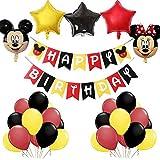 Artículos para Fiestas temáticas de Mickey y Minnie, BESTZY Globos de Minnie Rojo y Negro Mickey Party Globos Decoraciones de cumpleaños de Mickey Mouse para Party Comunion Bautizo Decoracion