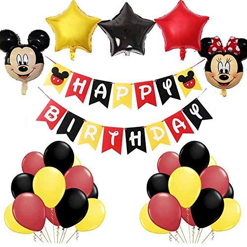 Artículos para Fiestas temáticas de Mickey y Minnie, BESTZY Globos de Minnie Rojo y Negro Mickey Party Globos Decoraciones de cumpleaños de Mickey para Party Comunion Bautizo Decoracion