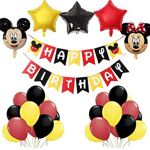 Décorations d'anniversaire Mickey Mouse, BESTZY Fournitures de fête à thème Mickey et Minnie...