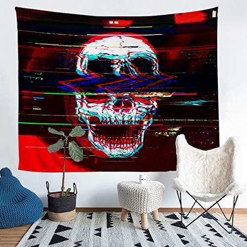 Patrón de calavera para colgar en la pared, diseño de esqueleto para niños y niñas, estilo gótico, manta de pared personalizada, decoración de habitación, manta de cama, manta mediana de 128 x 152 cm
