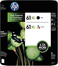 HP 61Xl High Yield Black and Tri-Color Ink Cartridges Combo