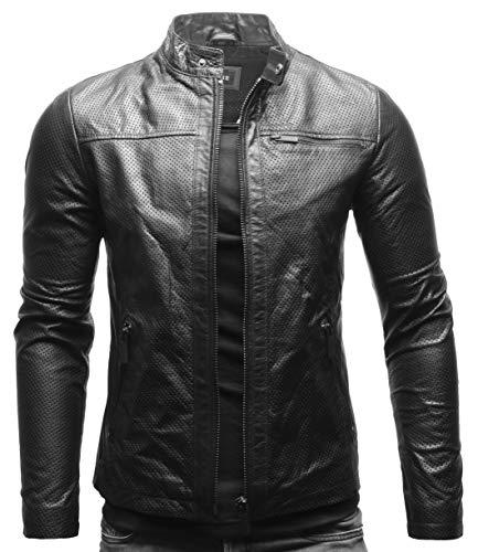 Crone Epic Herren Lederjacke Cleane Leichte Basic Jacke aus weichem Rindsleder (L, Black Summer (Perforiert))