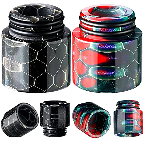 810 Drip Tips Replacement Honeycomb Standard Drip Tip Resin Drip Tip Connector Cover Quick Fitting for Coffee Machine Favors Ice Maker (2, Black, Rainbow)