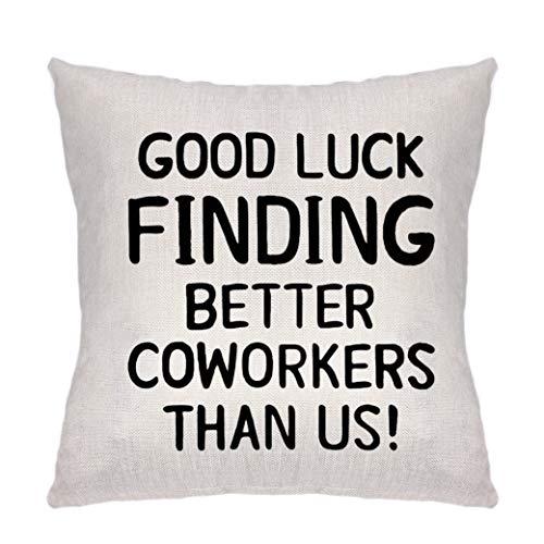 Federa per cuscino, idea regalo per donne di coworker, addio, addio e partenza, regalo per colleghi boss e amici collaboratori – buona fortuna trovare migliori colleghi rispetto a noi