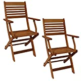 Sunnydaze Meranti Wood Outdoor Folding Patio Armchairs - Set of 2 - Outside Wooden Bistro Furniture for Lawn, Deck, Balcony, Garden and Porch - Teak Oil Finish
