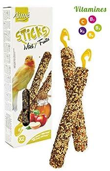 Aime Baguettes au Miel/aux Fruits pour Canaris/Friandises pour Oiseaux/2 Baguettes Croustillantes