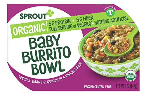 Sprout Organic Baby Food, Toddler Meals, Veggie Burrito Bowl with Beans & Quinoa, 5 Oz Bowl (8 Count)