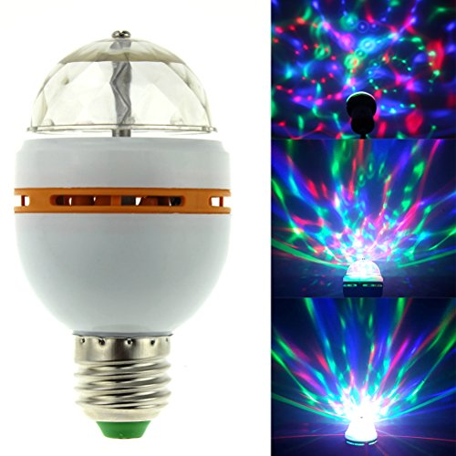 LEDMOMO RGB LED rotierende Disco Party Glühbirne mit E27 Schraubensockel (gelber Gummi)