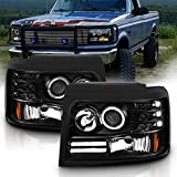 AmeriLite LED Halo Bar Black Projector Replacement Headlights Set for Ford F-150/F250/F350/Bronco - Passenger Right and Driver Left Side