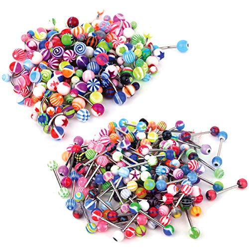 BodyJ4You 100PC Mix Pack 14G Tongue Rings and Belly Button Ring Surgical Steel Barbells Body Piercing