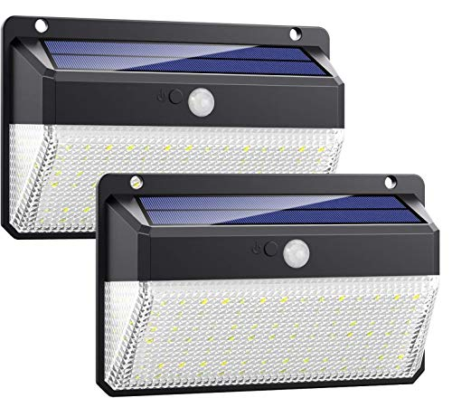 Luz Solar Exterior 108LED, Kilponen Foco Solar Exterior con Sensor de Movimiento Lámpara Solar Impermeable Gran Ángulo 270º de Iluminación Luces Solares Jardín 2200mAh y 3 Modos Inteligentes 2-Paquete