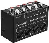 Bonvvie - Mini mezclador estéreo pasivo de 4 canales RCA, distribuidor estéreo Live y de estudio, reproductor de CD, reproductor de casete, ordenador, teléfono móvil, tablet