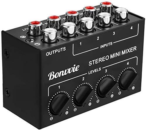 Mini Stereo Mixer, Bonvvie Mixer Passivo a 4 Canali RCA, Distributore Stereo Live e da Studio, Lettore CD, Lettore di Cassette, Computer, Telefono Cellulare, Tablet