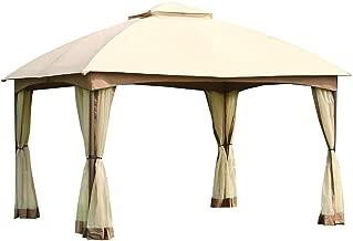 CROWN SHADES 10 x 12 Feet Dome Gazebo with Shade Curtains, Beige