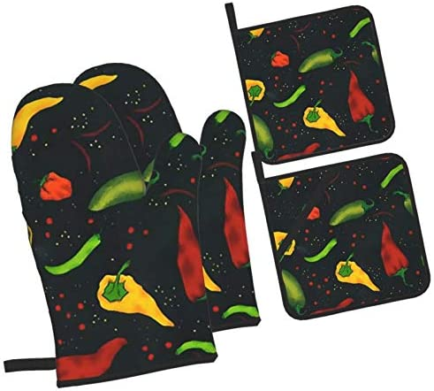 LTtie Colorful Chilis Pepper Oven Mitts and Pot Holders Set of 4 Non Slip Hot Pads with Cotton product image