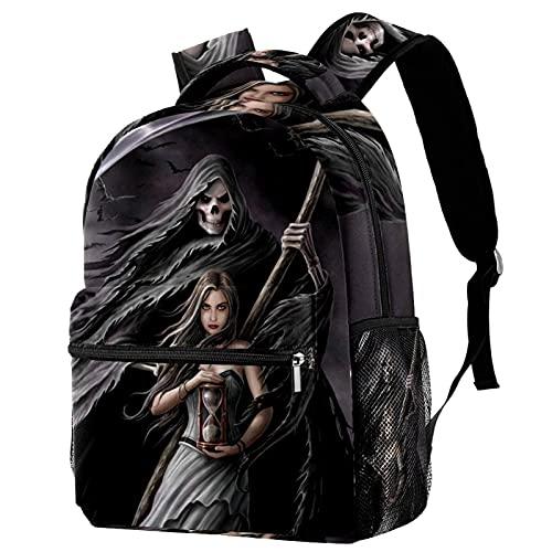 Zaino per ragazze bambini scuola bambini Bookbag donna casual zaino con tracolla regolabile nero teschio cuore Crossbones, Falce della morte 9, 29.4x20x40cm,