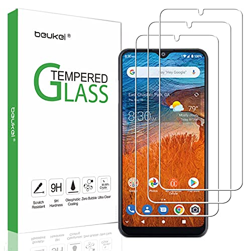 (3 Pack) Beukei Compatible for ZTE Z6250 / ZTE ZMax 10 Screen Protector Tempered Glass, Touch Sensitive,Case Friendly, 9H Hardness